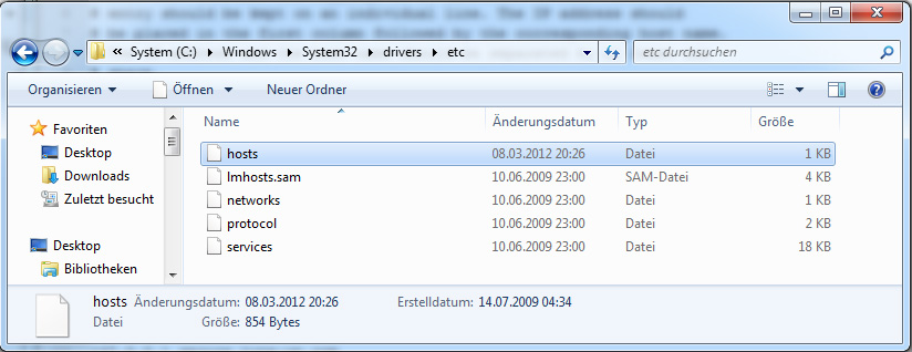 Windows host Datei