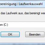 Windows Datenträgerbereinigung so sieht der Start aus