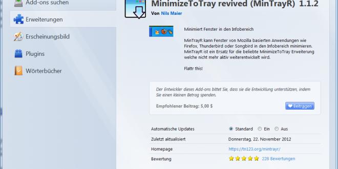 MinimizeToTray - Lösung dafür das Thunderbird 2x startet