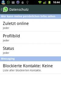 WhatsApp Datenschutz Optionen